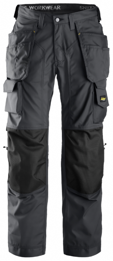 Snickers 3223 Rip-Stop Floorlayer Holster Pocket Trousers (Steel Grey / Black)